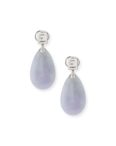 DAVID C.A. LIN Lavender Jade Pear Drop Earrings