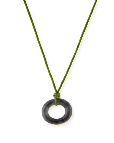 Gray Jade Open Pendant Necklace on Cord