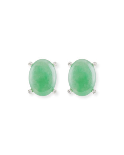 DAVID C.A. LIN GREEN JADE CABOCHON EARRINGS WITH DIAMOND PRONGS