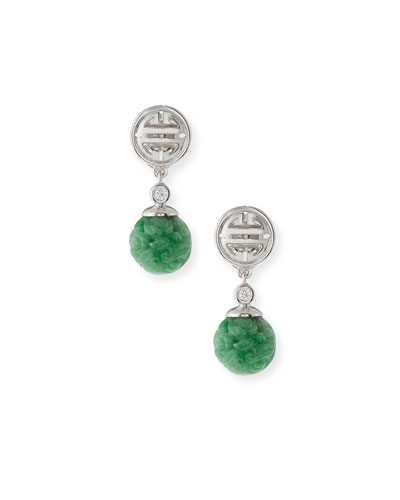 DAVID C.A. LIN CARVED GREEN JADE BEAD DROP EARRINGS WITH DIAMONDS