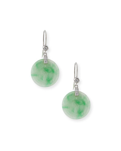 DAVID C.A. LIN ROUND GREEN JADEITE DROP EARRINGS WITH DIAMONDS