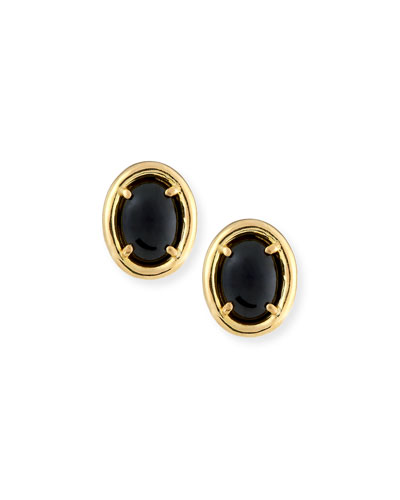 DAVID C.A. LIN BLACK NEPHRITE JADE STUD EARRINGS