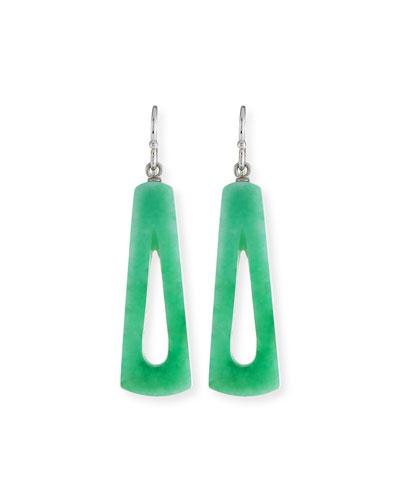 DAVID C.A. LIN Green Jade Open Dangle Earrings