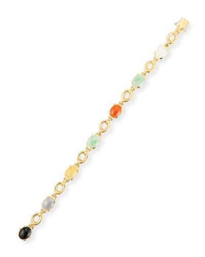 Multicolor Jade Cabochon Bracelet