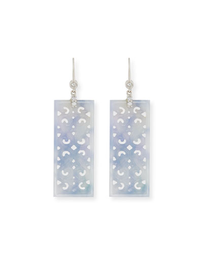 Ruth Carved Rectangular Blue Jade Drop Earrings with Diamonds