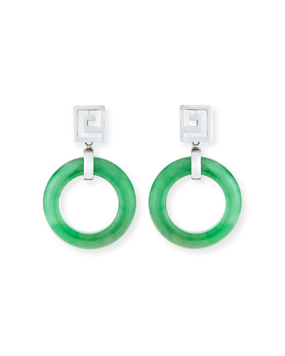 DAVID C.A. LIN OPEN GREEN JADEITE CIRCLE DROP EARRINGS