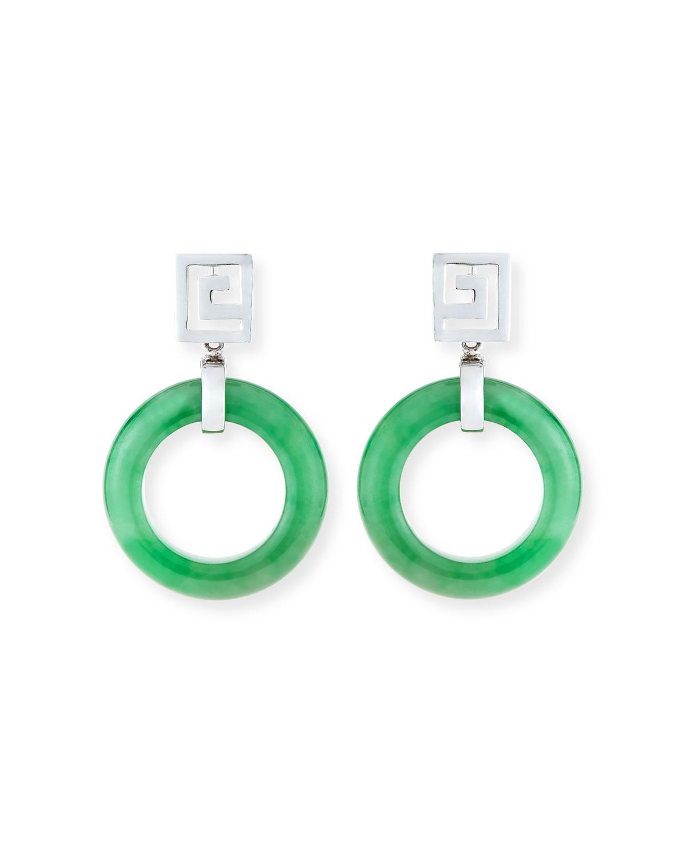 Open Green Jadeite Circle Drop Earrings
