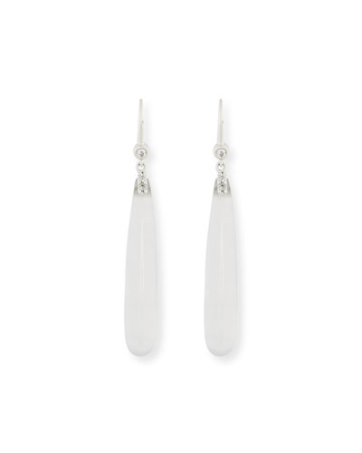 DAVID C.A. LIN TRANSLUCENT WHITE JADEITE TEARDROP EARRINGS WITH DIAMONDS