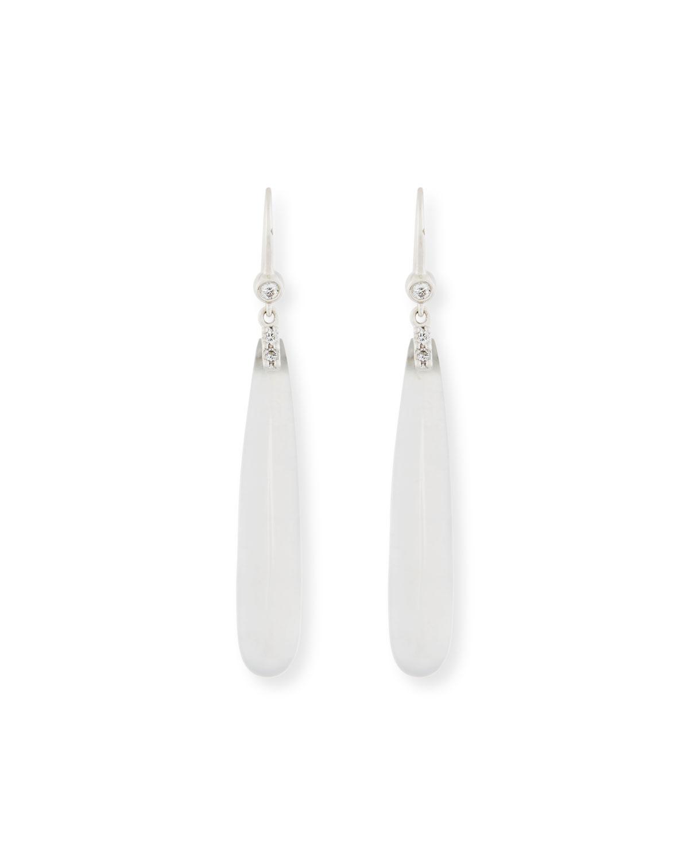 Translucent White Jadeite Teardrop Earrings with Diamonds