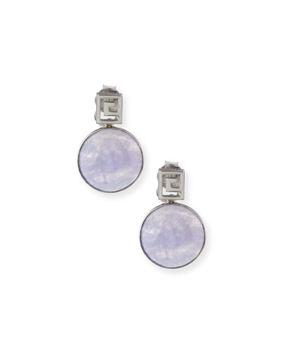DAVID C.A. LIN Translucent Lavender Jade Bezel Drop Earrings