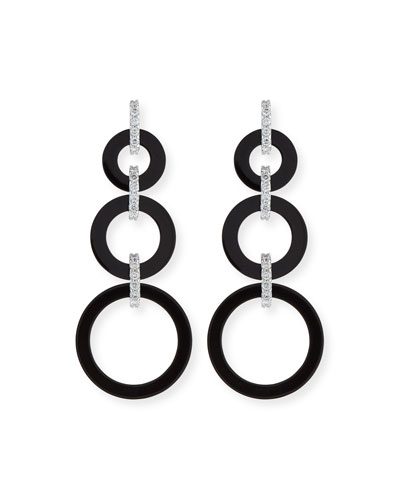 DAVID C.A. LIN GRADUATED BLACK JADE CIRCLE DROP EARRINGS WITH DIAMOND LINKS