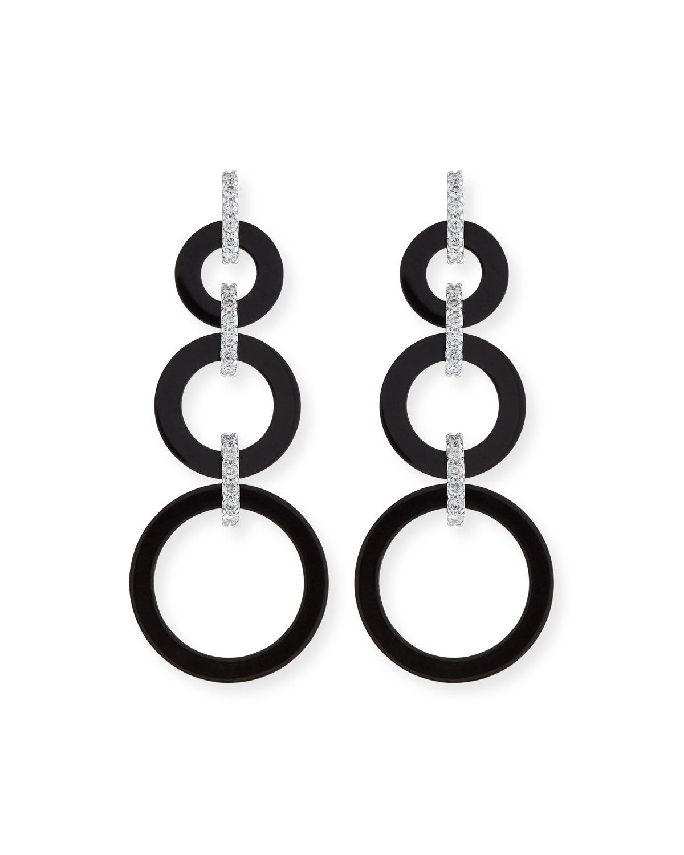Graduated Black Jade Circle Drop Earrings with Diamond Links