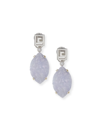 Carved Floral Lavender Jade Drop Earrings with Diamonds