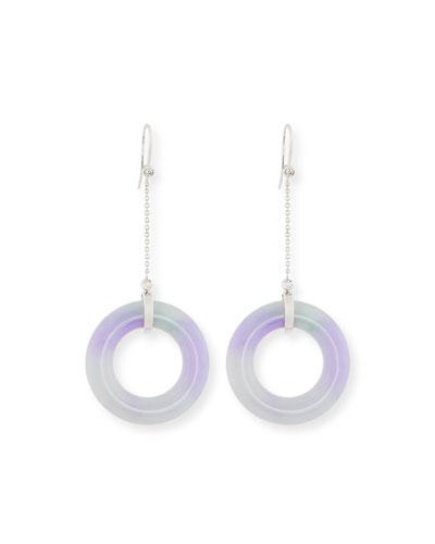 Open Lavender Jade Chain Drop Earrings with Diamonds