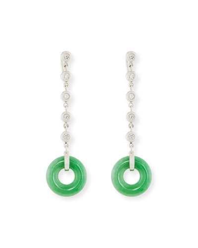 DAVID C.A. LIN GREEN JADE CIRCLE DROP EARRING WITH DIAMONDS