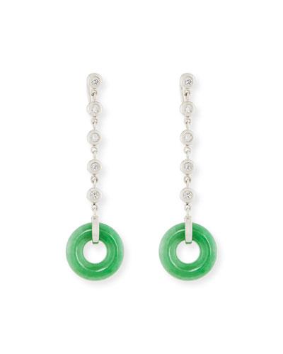 DAVID C.A. LIN Green Jade Circle Drop Earring With Diamonds