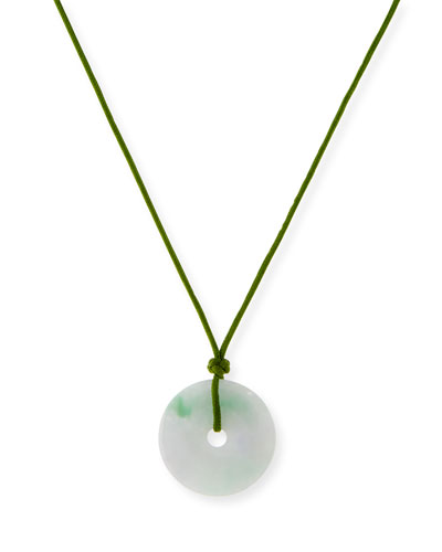 Green Jade Disc Necklace on Cord