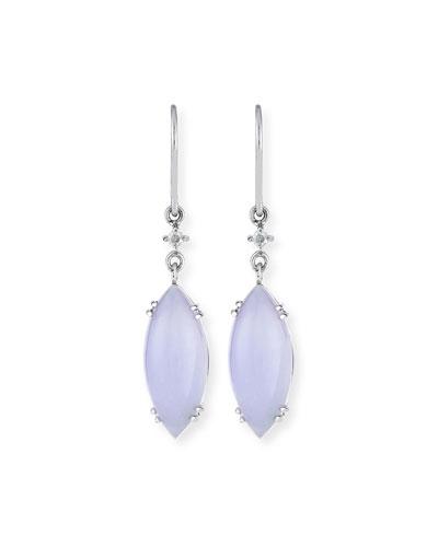 DAVID C.A. LIN Lavender Jadeite Marquis Drop Earrings
