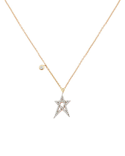 Struck Star 14k Doodle Pendant Necklace