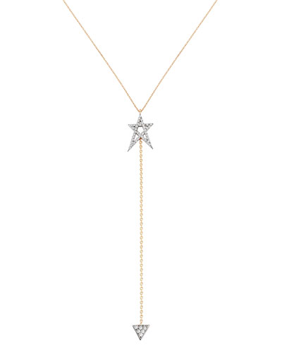 Struck Star 14k Doodle Lariat Necklace