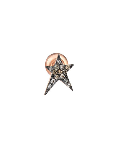 Struck Star 14k Champagne Diamond Single Stud Earring