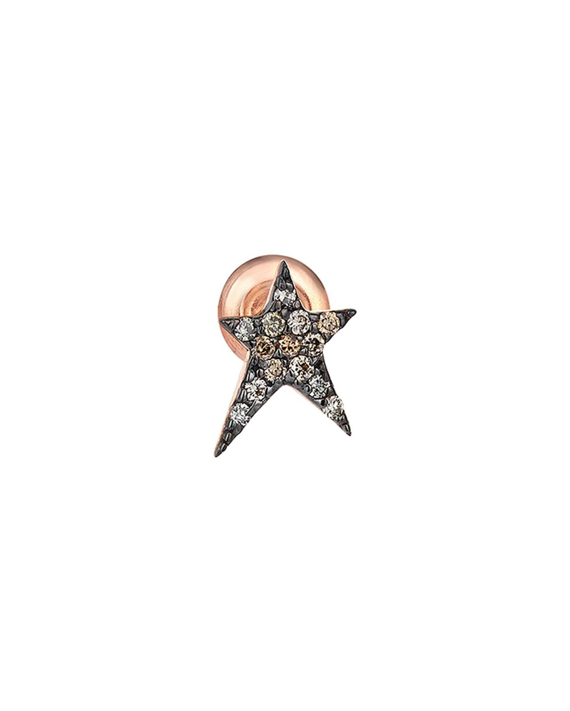 Struck Star 14k Champagne Diamond Single Stud Earring