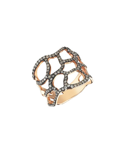 Beyond 14k Champagne Diamond Wide Comet Ring, Size 6.75