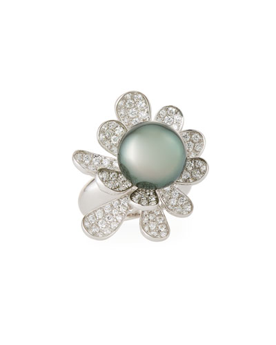 Tahitian Pearl & Diamond Flower Ring