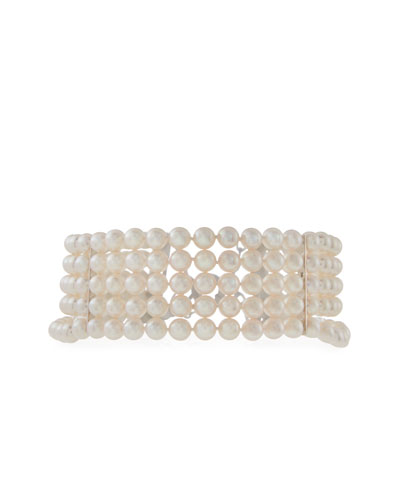 Five-Row Akoya Pearl Choker Necklace