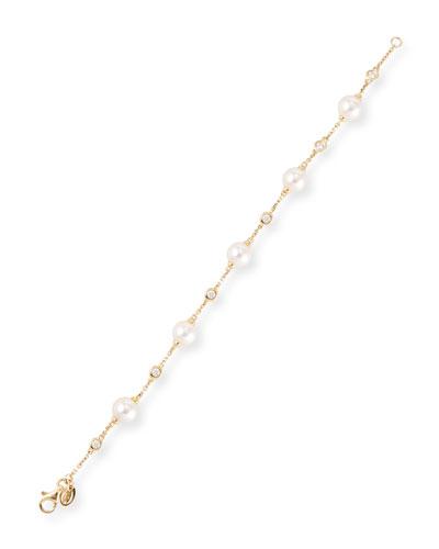 Akoya Pearl & Diamond Bezel Chain Bracelet