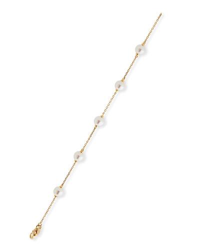 Akoya Pearl Chain Bracelet in 18K Gold