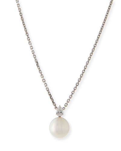 South Sea Pearl & Pear Diamond Pendant Necklace
