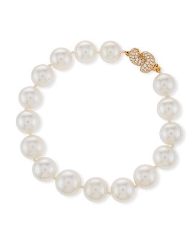 South Sea Pearl Bracelet with Diamond Knot Clasp