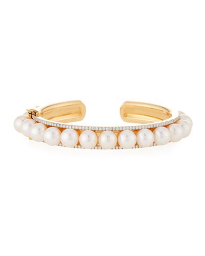 Akoya Pearl & Diamond Rail Bracelet
