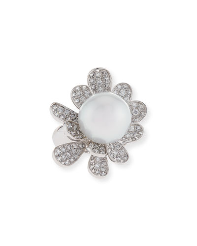 South Sea Pearl & Diamond Flower Ring