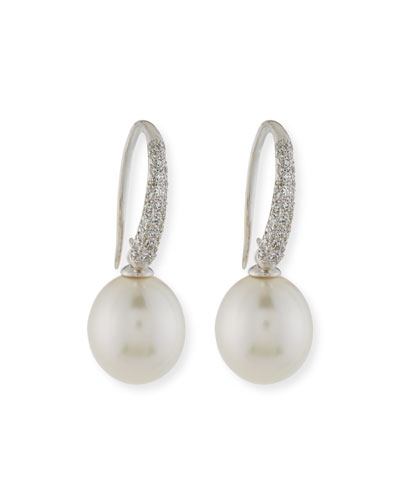 Pavé Diamond & South Sea Pearl Drop Earrings