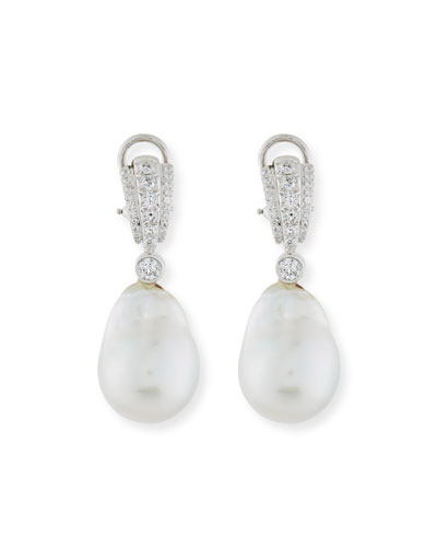 Pavé Diamond & South Sea Baroque Pearl Drop Earrings
