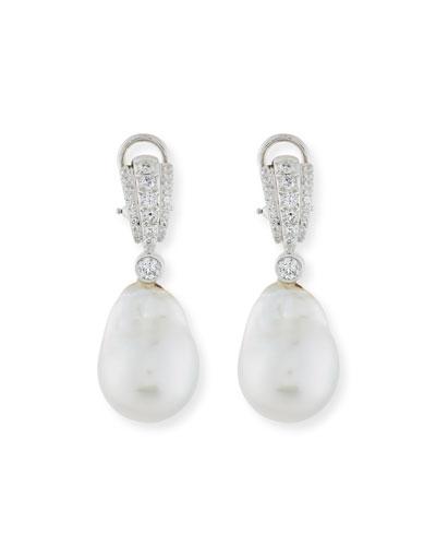 Pavé Diamond & South Sea Baroque Pearl Drop Earrings