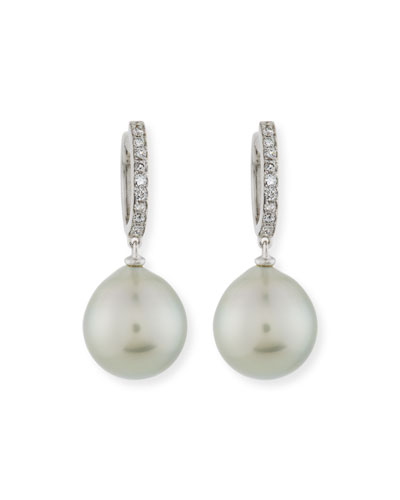 13mm Tahitian Pearl & Diamond Drop Earrings