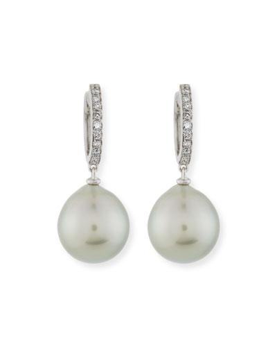 13mm Tahitian Pearl & Diamond Drop Earrings