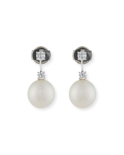 Double Diamond & Pearl Drop Earrings