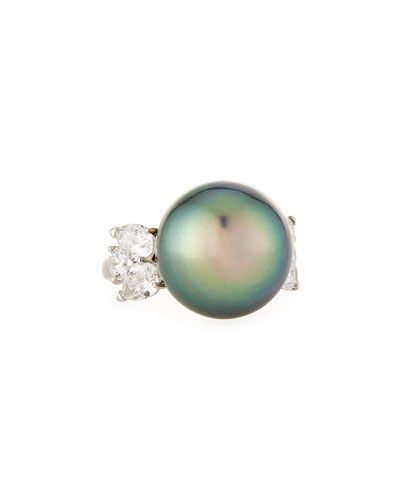 Tahitian Pearl & Diamond Ring in Platinum