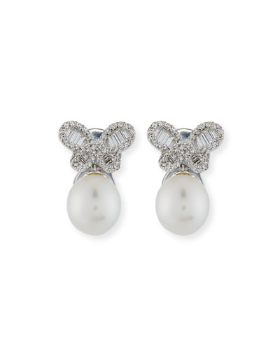 Diamond Butterfly & South Sea Pearl Earrings