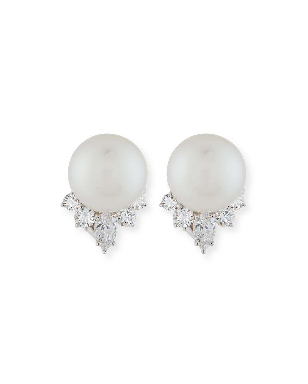 ASSAEL Pearl & Pear-Shaped Diamond Earrings In Platinum