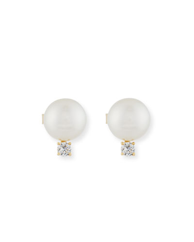 11mm South Sea Pearl & Diamond Earrings