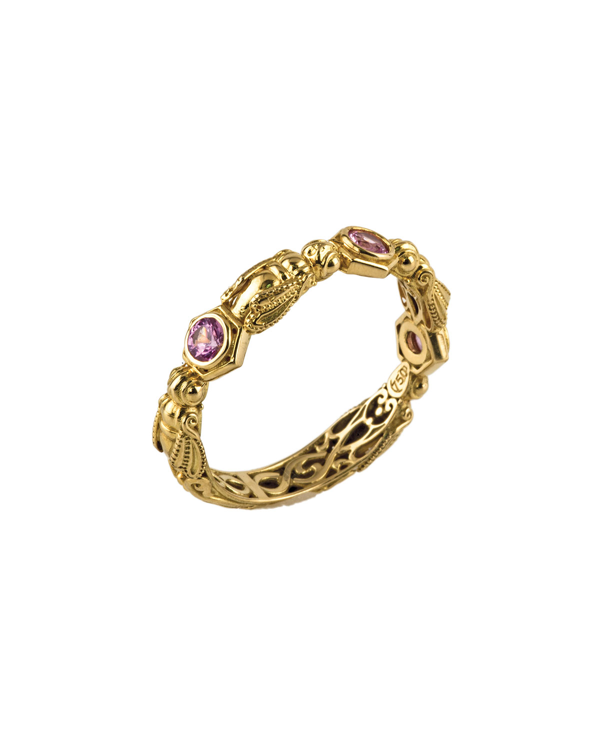 KONSTANTINO 18K YELLOW GOLD BAND RING W/ PINK SAPPHIRES