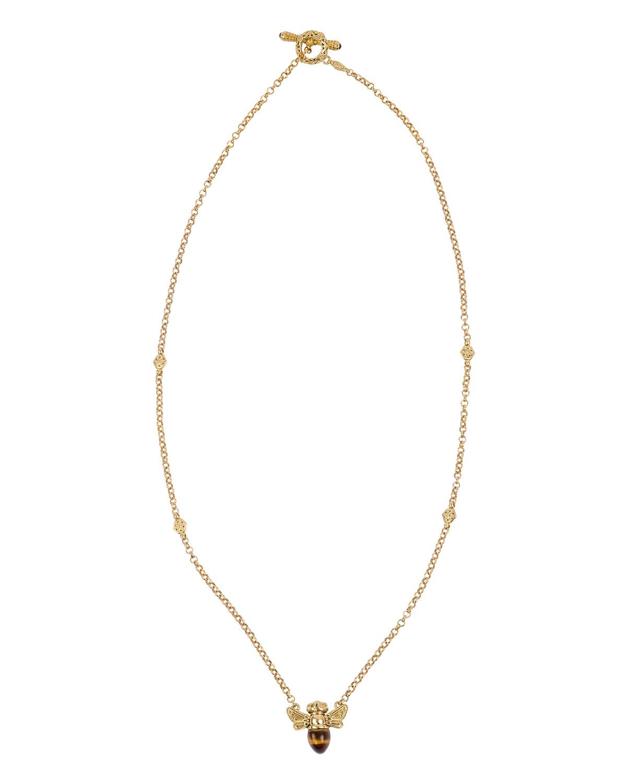 18k Tiger's Eye Bee Pendant Necklace w/ Diamonds