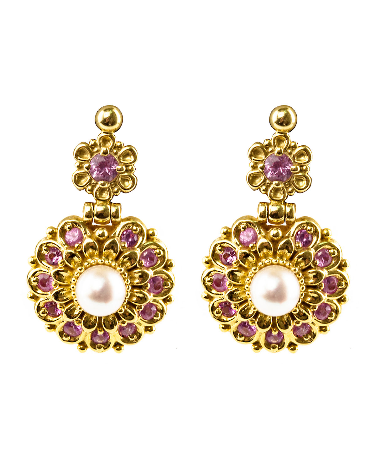 Konstantino 18k Yellow Gold Sapphire & Pearl Earrings 4a91dCkPXk