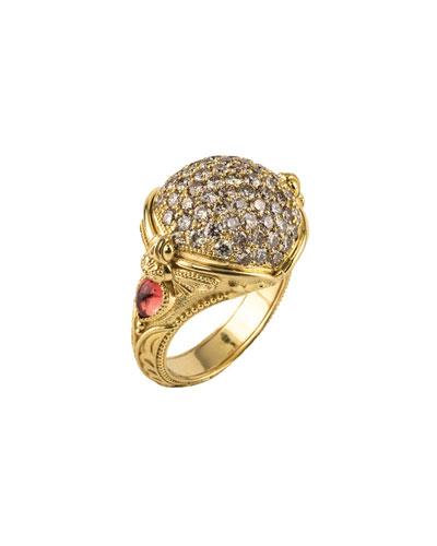 18k Yellow Gold Diamond & Sapphire Ring, Size 7