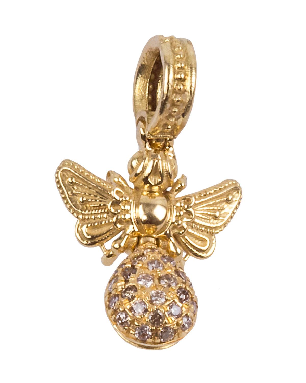 18k Brown Diamond Bee Pendant